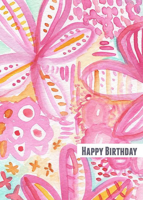 Spring Flowers Birthday Card Print by Linda Woods