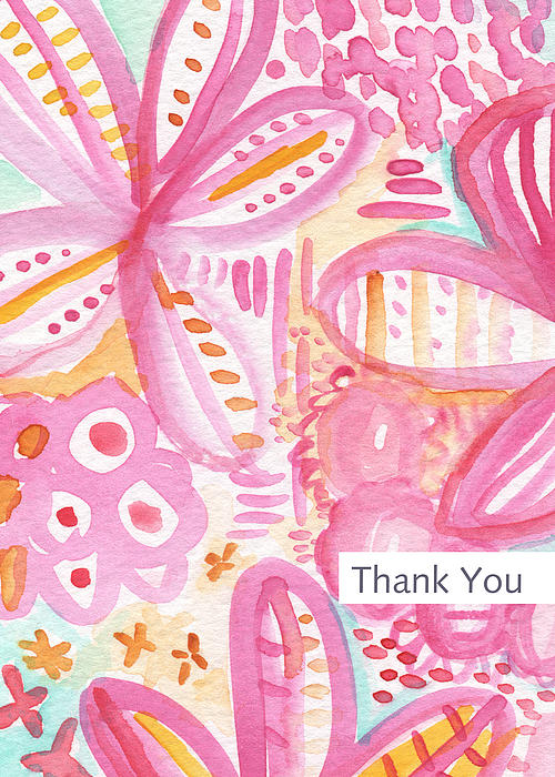 Spring Flowers Thank You Card Print by Linda Woods