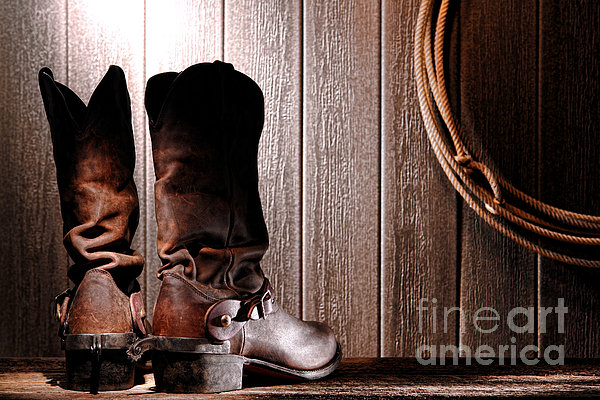 Spurs On Cowboy Boots Heels Print by Olivier Le Queinec