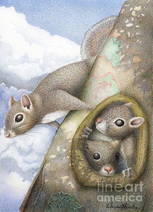 Squirrels Print by Wayne Hardee