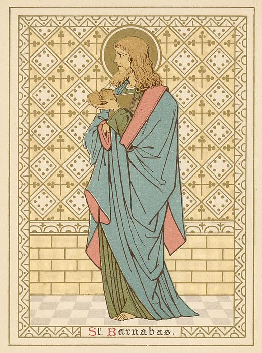 St Barnabas Print by English School
