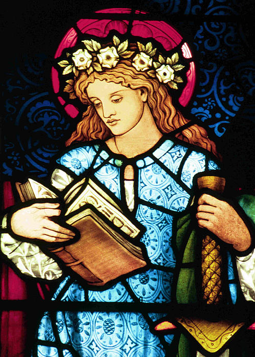 St Catherine Of Alexandria In Stained Glass Print by Philip Ralley