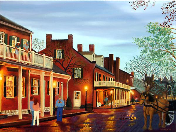 St Charles Cityscape II Impressionistic Oil Painting Print by Daniel Fishback