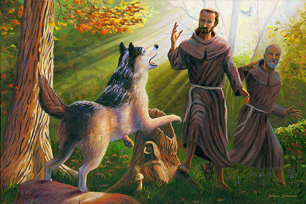 St. Francis Taming The Wolf Print by Steve Simon