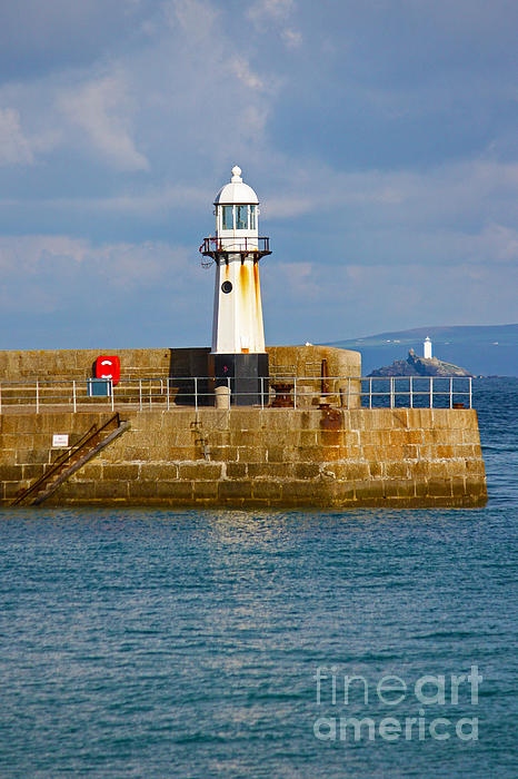St Ives And Godrevy Lighthouses Cornwall Print by Terri  Waters