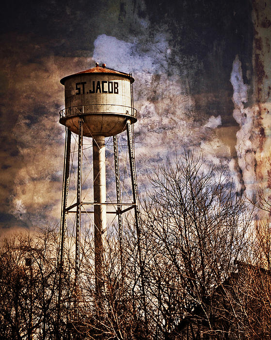 St. Jacob Water Tower 2 Print by Marty Koch