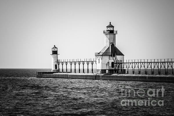 St. Joseph Lighthouses Black And White Picture  Print by Paul Velgos