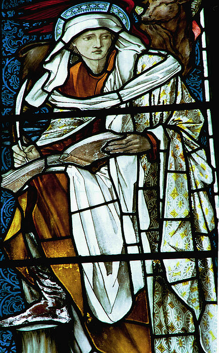 St Luke In Stained Glass Print by Philip Ralley
