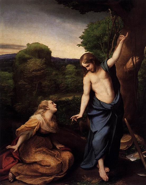 St Mary Magdalene And Christ Print by Antonio Correggio