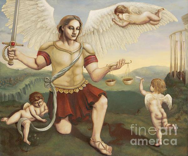 St. Michael The Archangel Print by Shelley Irish