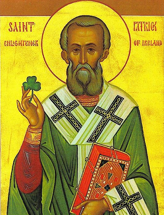 St Patrick And The Shamrock Print by Pam Neilands