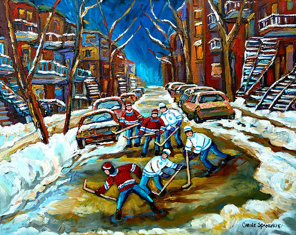 St Urbain Street Boys Playing Hockey Print by Carole Spandau