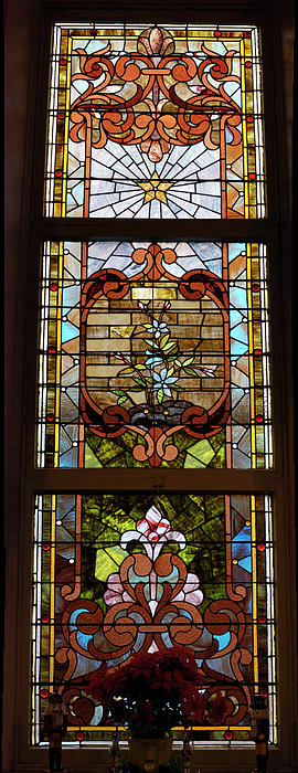 Stained Glass 3 Panel Vertical Composite 02 Print by Thomas Woolworth