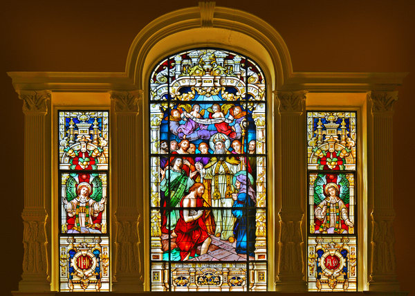 Stained Glass Window Cathedral St Augustine Print by Christine Till