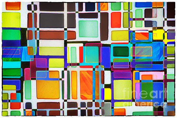 Stained Glass Window Multi-colored Abstract Print by Natalie Kinnear