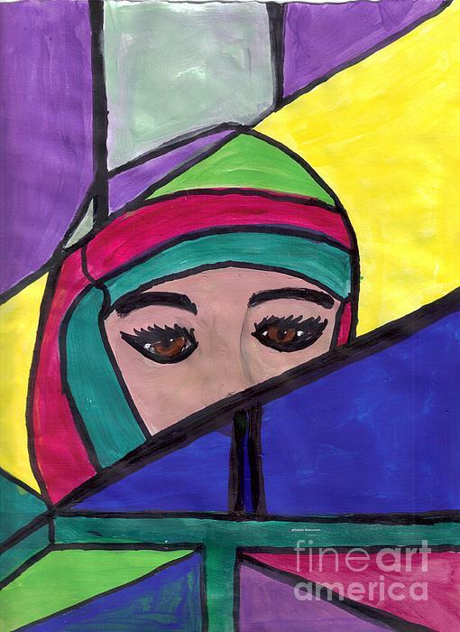 Stained Glass Woman Print by Debbie Wassmann