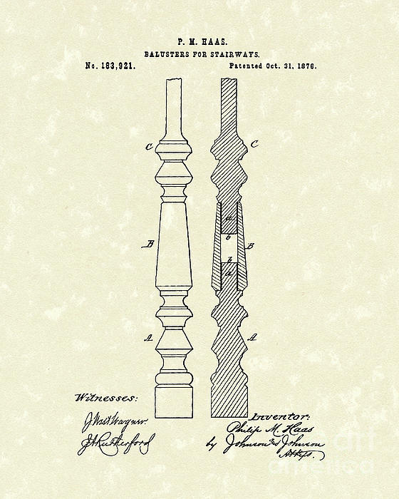 Stairway Baluster 1876 Patent Art Print by Prior Art Design