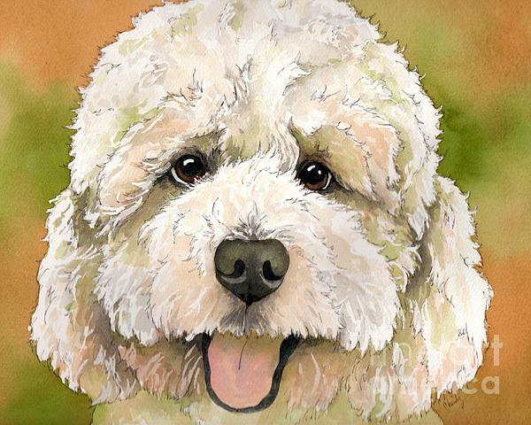 Standard White Poodle Dog Watercolor Print by Cherilynn Wood