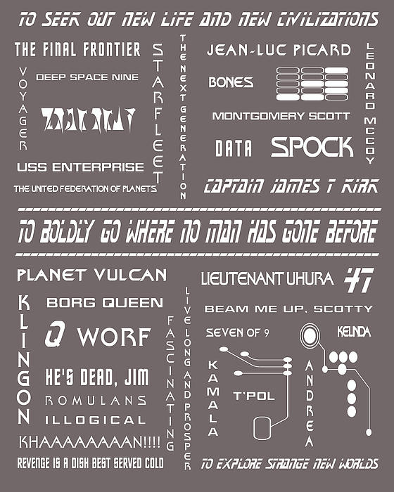 Star Trek Remembered In Grey Print by Nomad Art And  Design