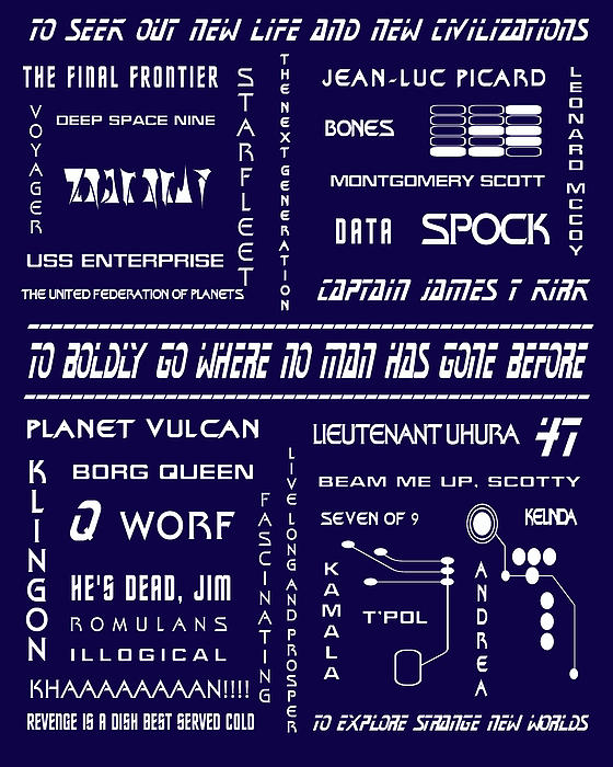 Star Trek Remembered In Navy Blue Print by Nomad Art And  Design