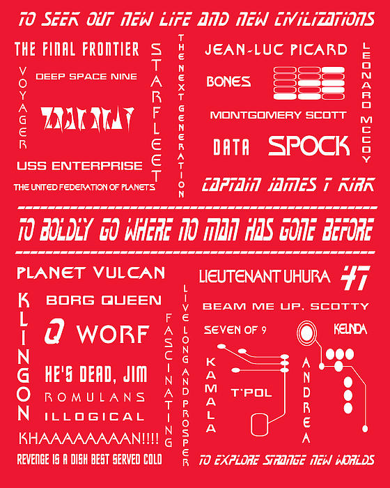 Star Trek Remembered In Red Print by Nomad Art And  Design