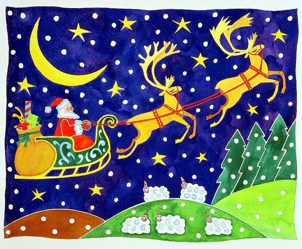 Stars And Snowfall Print by Cathy Baxter
