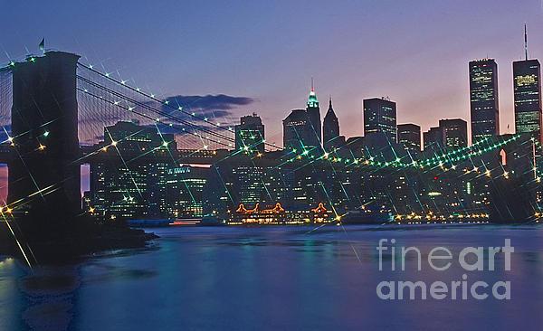 Stars Brooklyn Bridge Print by Bruce Bain