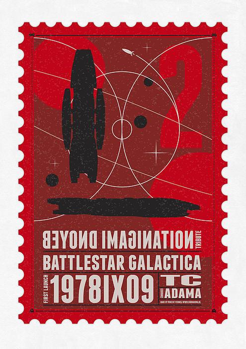 Starschips 02-poststamp - Battlestar Galactica Print by Chungkong Art