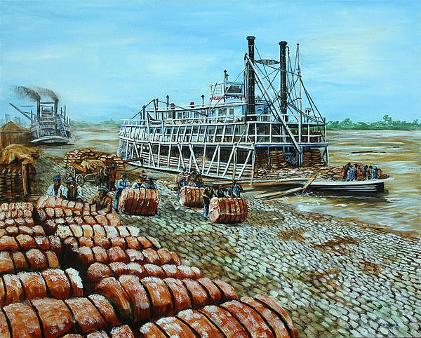 Steamboat Unloading Cotton In Memphis Print by Karl Wagner