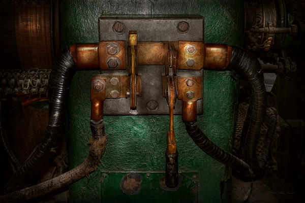 Steampunk - Electrical - Pull The Switch  Print by Mike Savad