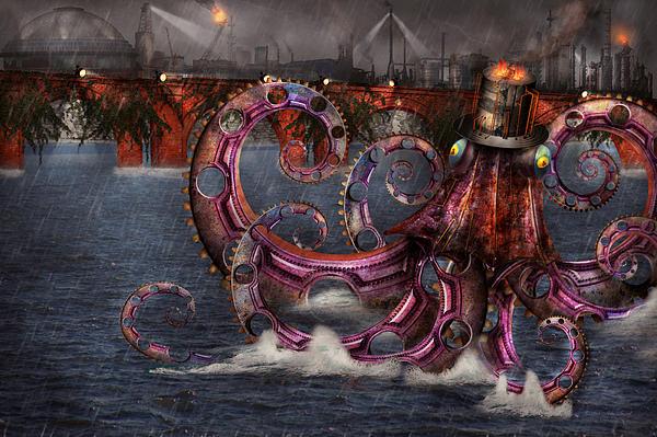 Steampunk - Enteroctopus Magnificus Roboticus Print by Mike Savad
