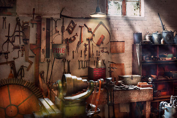 Steampunk - Machinist - The Inventors Workshop  Print by Mike Savad
