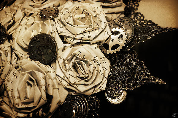 Steampunk Paper Roses Will Never Fade Print by Lisa Knechtel