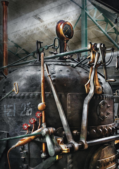 Steampunk - The Steam Engine Print by Mike Savad