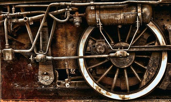 Steampunk- Wheels Of Vintage Steam Train Print by Daliana Pacuraru