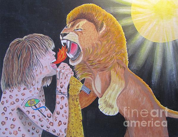Steven Tyler Versus Lion Print by Jeepee Aero