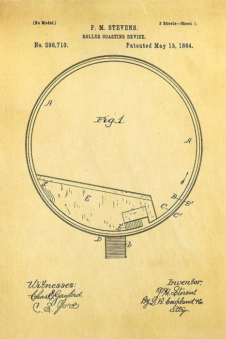 Stevens Roller Coaster Patent Art 1884 Print by Ian Monk