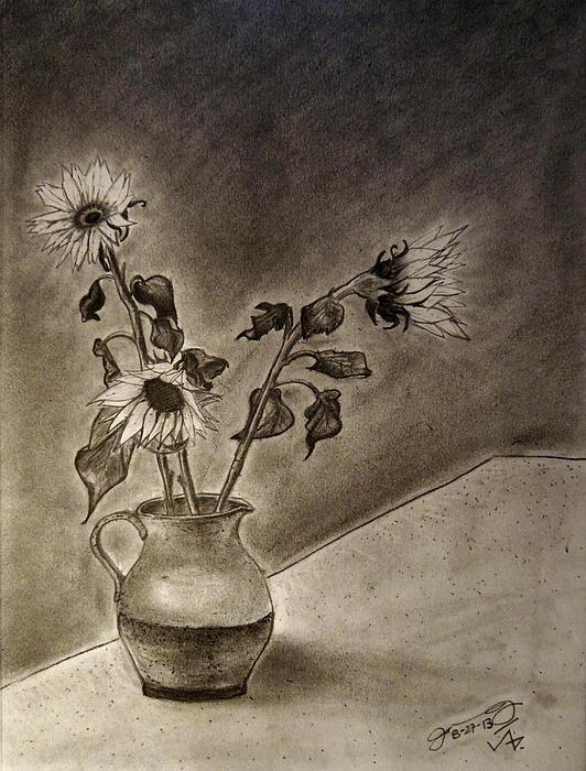 Still Life Ceramic Pitcher With Three Sunflowers Print by Jose A Gonzalez Jr