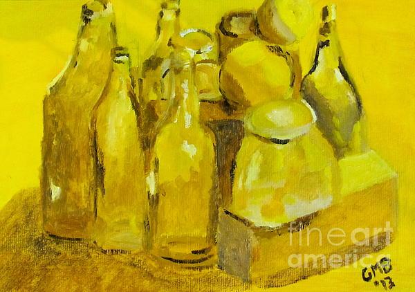 Still Life Study In Yellow Print by Greg Mason Burns