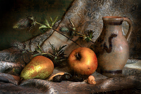 Still Life With Apples And Pears And Thistle Print by Hugo Bussen