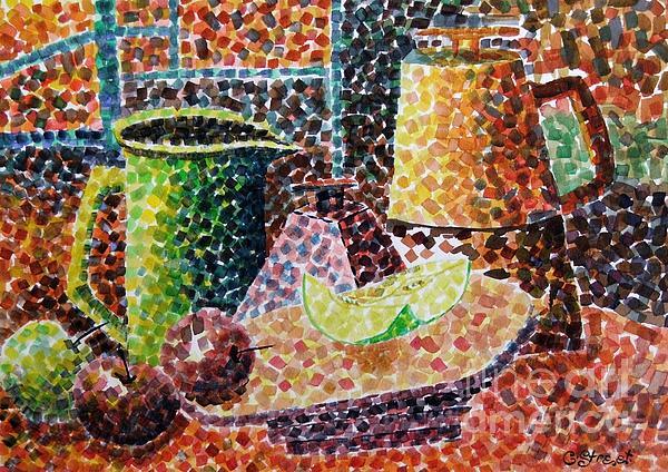 Still Life With Green Jug Painting Print by Caroline Street