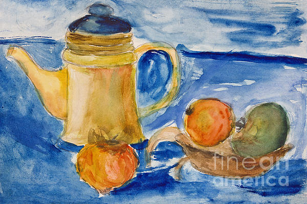 Still Life With Kettle And Apples Aquarelle Print by Kiril Stanchev