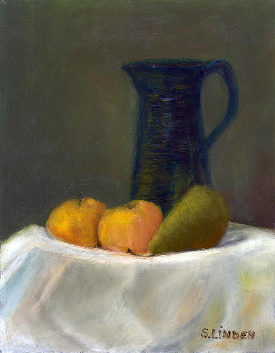 Still Life With Pitcher And Fruit Print by Sandy Linden