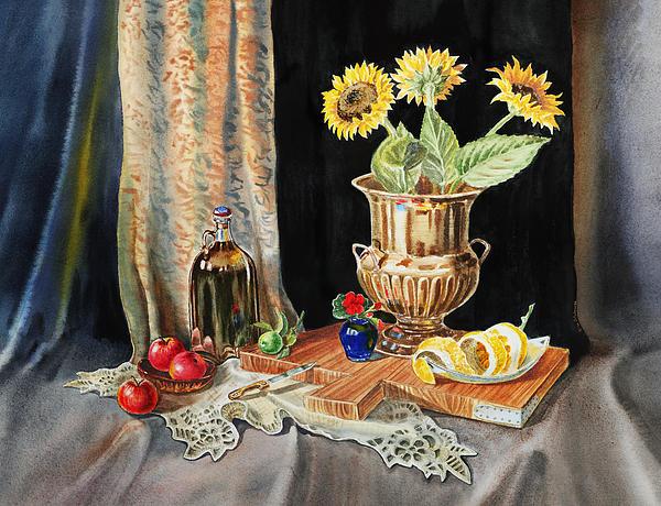 Still Life With Sunflowers Lemon Apples And Geranium  Print by Irina Sztukowski