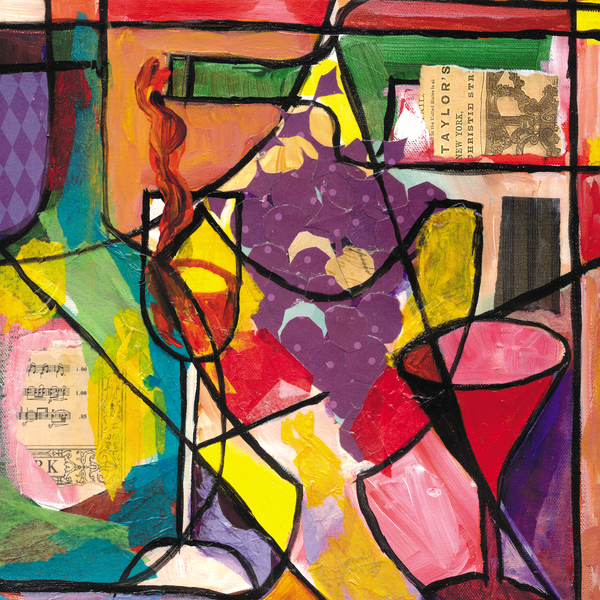 Still Life With Wine And Fruit B Print by Everett Spruill