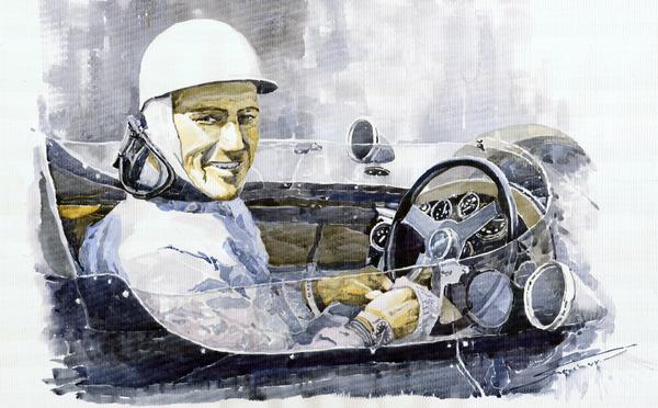 Stirling Moss Print by Yuriy  Shevchuk