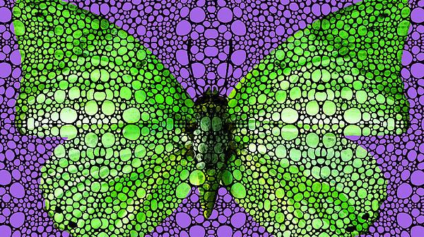 Stone Rock'd Butterfly 3 By Sharon Cummings Print by Sharon Cummings