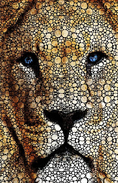 Stone Rock'd Lion 2 - Sharon Cummings Print by Sharon Cummings