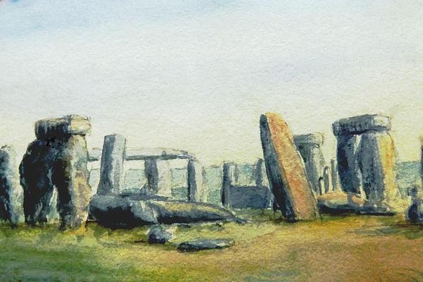 Rumyana Whitcher - Stonehenge Watercolour 1899