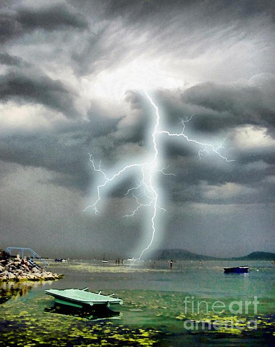Storm On Balaton Lake Print by Odon Czintos